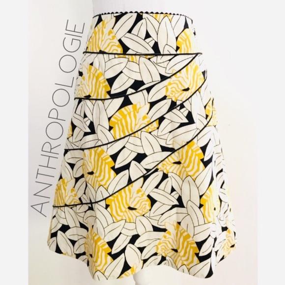 76a3d3df7c973 Anthropologie Dresses & Skirts - 🆑 Anthro Odille zebra leaf aline midi  skirt 8 M